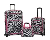 Rockland Expandable Spinner 14 Tote, Pink Zebra, 19-Inch/28-Inch