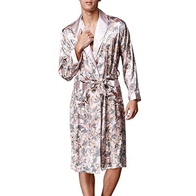 Sidiou Group Men Long Kimono Robe Dressing Gown Satin Robe Long Bathrobe Night Robe Nightgown Sleepwear Nightwear