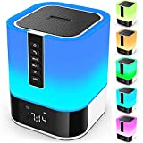 Night Light Bluetooth Speaker, 5 in 1 Touch Control Bedside Lamp Dimmable Multi-Color Changing, Bedroom Alarm Clock, Best Birthday Gift Ideas for 10 11 12 13 14 Year Old Teenage Girls/Boys