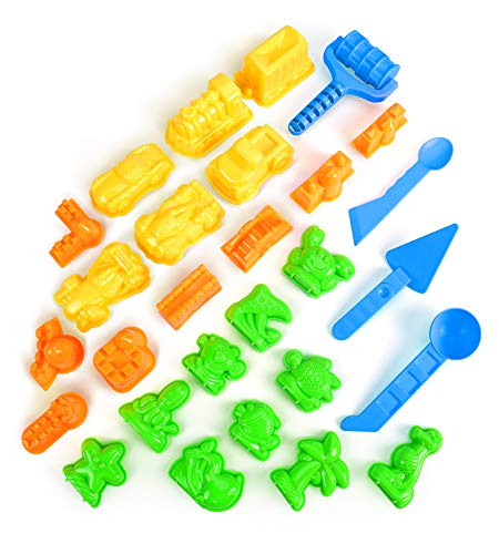 AnanBros Sand Molds - 28pcs Colorful Sandbox Toys Sand Molds, Moon Sand Beach Sand Toys for Kids, Molds with Castle Molds, Car, Sea Creatures, Tool Set Compatible with Any Molding Sand