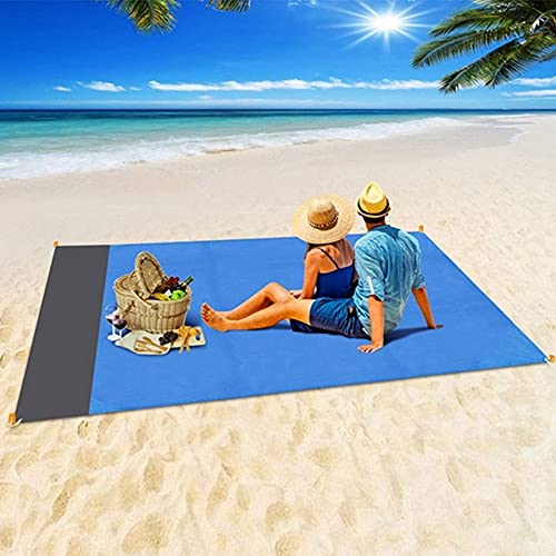 Sand Free Beach Blanket, Extra Large 79''×83'' for 4-7 Adults Beach Mat, Big & Compact Sand Proof Mat Quick Drying, Lightweight & Durable with 4 Stakes Outdoor Blanket for Travel,Camping,Hiking