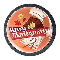引き出しハンドルは家庭用キッチンドレッサーワードローブの丸いクリスタルガラスを引っ張る七面鳥の紅葉で幸せな感謝祭