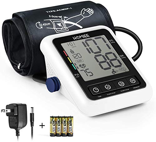 "HOMIEE Blood Pressure Monitor with AC Adapter, 4"" Large LCD Display Digital BP Monitor,9-17"" Large Arm Cuff Blood Pressure Machine with AFIB Detection, 2 Users 240 Memories, 4 AA Batteries Included"