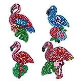 VETPW 4 Stück 5D DIY Diamant Malerei Schlüsselbund mit Flamingo Muster, Doppelseitig DIY Full Drill Diamond Painting Keychain für Damen Geldbörse Rucksack Handtasche Dekoration