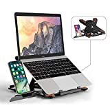 Laptop Stand TopMate Portable Laptop Riser, 360°Swivel Base Adjustable Eye-Level Ergonomic Design, Foldable Desktop Notebook Holder Mount with Phone Stand for Laptop Within 17'