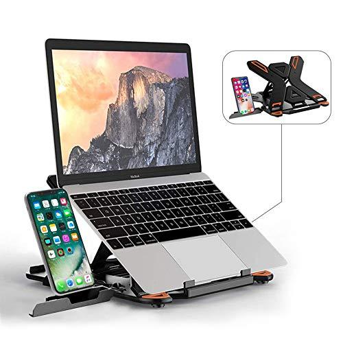 TopMate Laptop Stand Portable Laptop Riser, 360°Swivel Base Adjustable Eye-Level Ergonomic Design, Foldable Desktop Notebook Holder Mount with Phone Stand for Laptop within 17'
