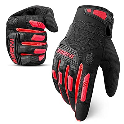 INBIKE MTB Mountain Bike Gloves Touchscreen with Thicken EVA Padded & TPR Knuckle Protection for BMX MX ATV Motorcycle (Medium, Red)