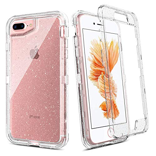 BENTOBEN iPhone 8 Plus Hülle, iPhone 7 Plus Hülle, iPhone 6s Plus Hülle, iPhone 6 Plus Case, K515-Silver Glitter Clear