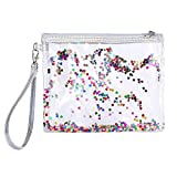 Wansan Clear Makeup Bag Toiletry Bag with Zipper PVC Waterproof Sequin Glitter Small Cosmetic Case Vacation Bathroom Wash Bag Travel Set