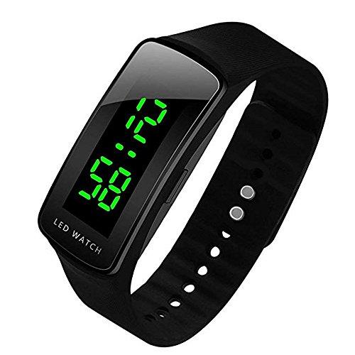 VOYAGE LED Uhr Sportuhr wasserdichte Digitaluhr,Unisex Armbanduhr Digitale Sportuhr Silikonuhr (Schwarz)