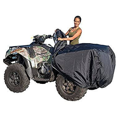 XYZCTEM Waterproof ATV Cover, Heavy Duty Black Protects 4 Wheeler From Snow Rain or Sun, Large Universal Size Fits 100 inch For Most Quads, Elastic Bottom Can Be Trailerable At High Speeds