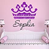 Girls Princess Tiara Purple Glitter Crown Personalized Custom Name Nursery Wall Decal, Size Medium Girls Room Wall Decals, Princess Wall Decals, Nursery Decals, Plus Free Hello Door Decal