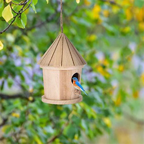 Hölzernes Vogelhaus-Hölzernes hängendes Vogelhaus Hotel-Vogelnest Box-Vogelschutz Nistlebensraum -Natürliches Holz Wildvogelkäfig für die Garten-Blockhaus-Vogelhütte Garten-Außendekorationen