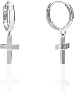14K Solid Yellow White Gold Cross Dangle Hugie Hoop Earrings