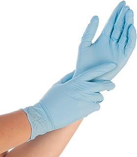 100x Guantes De Nitrilo - Tarea Pesada Guantes Desechables Sin Látex y Polvo AQL 1.5 Trabajo Pesado Mecánico Químico Industria Lavado Conserje Limpieza (Azul, S (6-7))