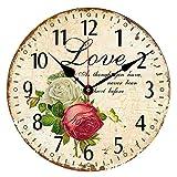 CIFFOST Reloj de Pared Creativo, Reloj Retro Europeo con Adhesivo de Pared, Estilo Elegante y Varios...