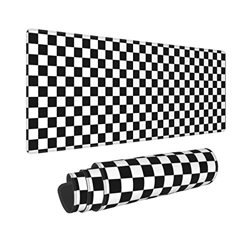 Black White Checkerboard Extended Gaming Mouse Pad (31.5x11.8 in), Large Non-Slip Rubber Base Mousepad with Stitched Edges, Waterproof Keyboard Mouse Mat Desk Pad for Work, Game, Home