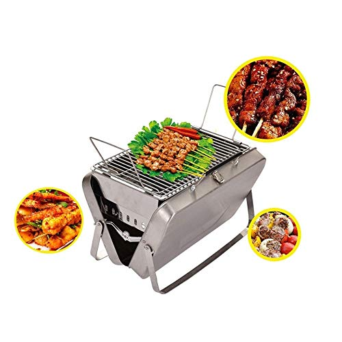 MINGTIANHUIGENGHAO Metal Charcoal Grill, Portable Camping Grill Compact Mini Stainless Steel Campfire Charcoal Gas BBQ Grill Rack for Backpacking, Hiking, Picnics, Fishing (Color : Silver)