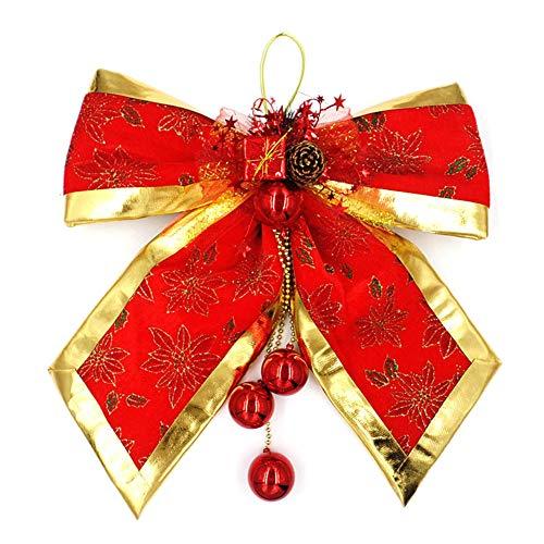 Hemore Christbaumschmuck Weihnachtsdeko Weihnachtsdekoration Tannenzapfen Schleife Weihnachtsbaum Anhänger klein rot 1 Stück für Weihnachtsbaum Dekoration, Party, Weihnachten