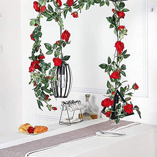 ZZYLHS Red rose tree vine restaurant winding artificial flower rattan decoration long vine pipe living room diy furnishings red ceiling