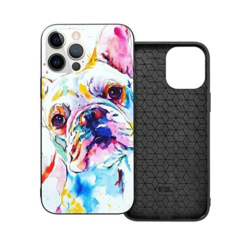 French Bulldog Watercolor Painting Phone Case for iPhone 12/12 Pro/12 Pro Max /12 Mini Soft TPU Leather Anti-Scratch Protective Cover