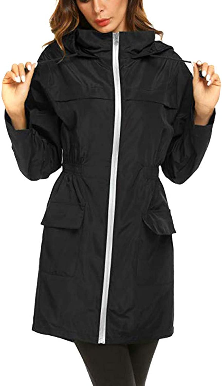 GridNN Womens Zipper Rain Jacekt Lightweight Waterproof Outdoor Hooded Raincoat,Solid Rain Jacket Outdoor Jackets