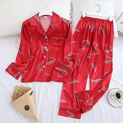 Langarm Hose Pyjama Anzug Herbst EIS Seidendruck Mode Lässige Bequeme Kleidung Für Frauen-H_M.