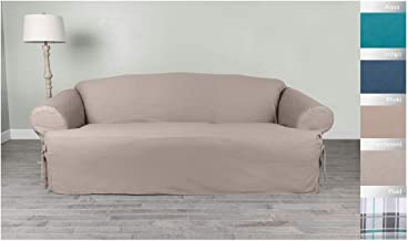 """Serta   Relaxed Cotton Duck Slipcover Collection, Fits Most T Sofas With Cushions, Up to 84"""", White"""