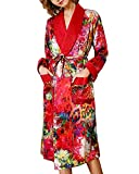 XYSQWZ Pijama de Cuello Chal para Mujer, Bata de Manga Larga de Seda 100%, camisón, Albornoz, Ropa de hogar, Doble Capa Gruesa