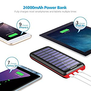 Solar Charger 24000mAh Portable Charger,PLOCHY Solar Power Bank Phone charger with 3 Fast Charging USB Port and Dual Input(Lightning & Micro) External Battery Pack for All Smartphone Tablet