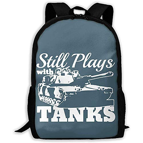 Water-Resistant Backpack,Lightweight Still Plays with Tanks WWII World War Printed School Backpack Water Resistant Travel Rucksack Bag Laptop Backpack Daypack