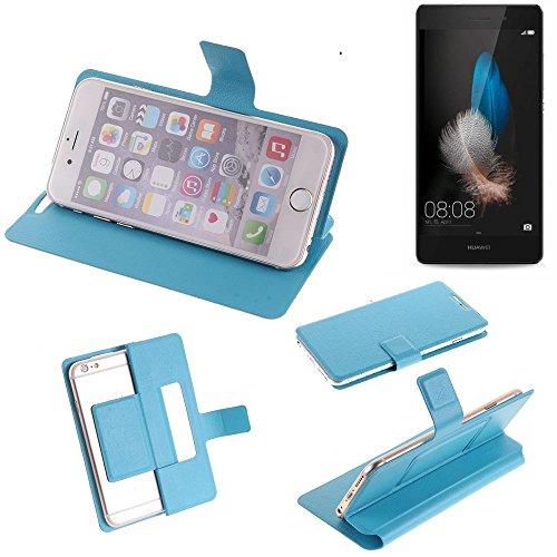 K-S-Trade® Flipcover Für Huawei P8 Lite Dual-SIM Schutz Hülle Schutzhülle Flip Cover Handy Case Smartphone Handyhülle Blau