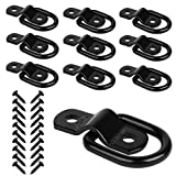JCHL D Rings Tie Down Anchors Hooks for Trailer Truck Bed Bracket Enclosed Points Pickup Camper Surface Mount D-Ring Heavy Duty 1/4' 2400 Pound Capacity (10-Pack)