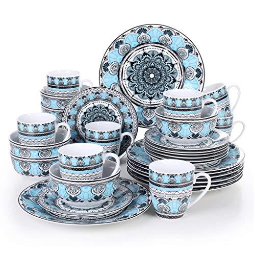 SHYOD Conjunto de vajillas de Cena de Cena de Porcelana de cerámica de 32 Piezas con Placa de Cena, Placa de Postre, tazón de Cereal, Conjunto de Taza de 380 ml