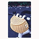 TADYL Cesta De Bicicleta, Cesta De Mimbre Vintage para Bicicleta con Correas De Cuero Marrón, Manillar Delantero, Cesta De Ratán para Niños, Niñas-Wood Color  20cm*13cm*12cm