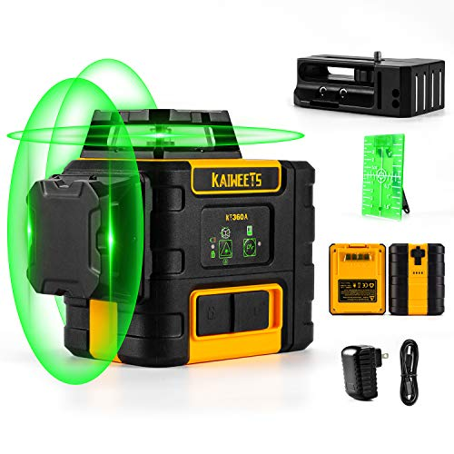 3D Laser Level Green, KAIWEETS 3X360° Laser Level 30M (to 60M with Receiver), 12 Lines Laser with Self-Levelling Mode, Manual Mode, IP54, 2 Batteries for 40 Hours, Adjustable Lightness, Magnetic Base