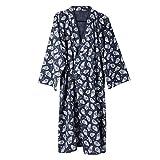 Qchomee Kimono Morgenmantel Herren Männer Yukata V-Ausschnitt Langarm Schlafmantel Hautfreundlich Bademantel Japanischer Saunamantel, L, Marine