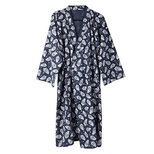 Kimono Morgenmantel Herren Männer Yukata V-Ausschnitt Langarm Schlafmantel Hautfreundlich Bademantel Japanischer Saunamantel, Marine, L