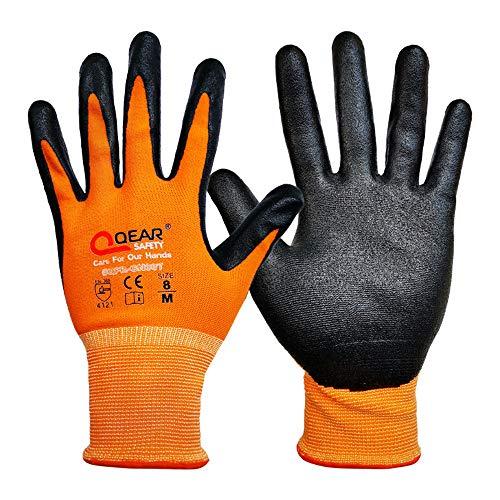 3Paia di guanti da lavoro in schiuma di nitrile, con palmo resistente a olio e grasso e buona manovrabilità, M, Arancione