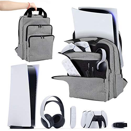 3-lagiger Reiserucksack für PS5 Konsole, Tragetasche stoßfest PS5 Tasche Handtasche/Schultertasche für PlayStation 5 DualSense Controller und Zubehör
