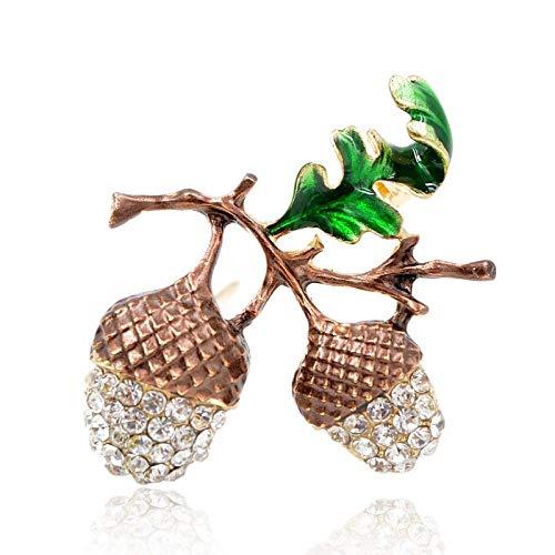 PicZhiwenture Broche Nueces de Pino Mujeres Broche Lindo de la Planta Pin Esmalte Hoja Color Verde Joyería de Moda Estilo de Verano