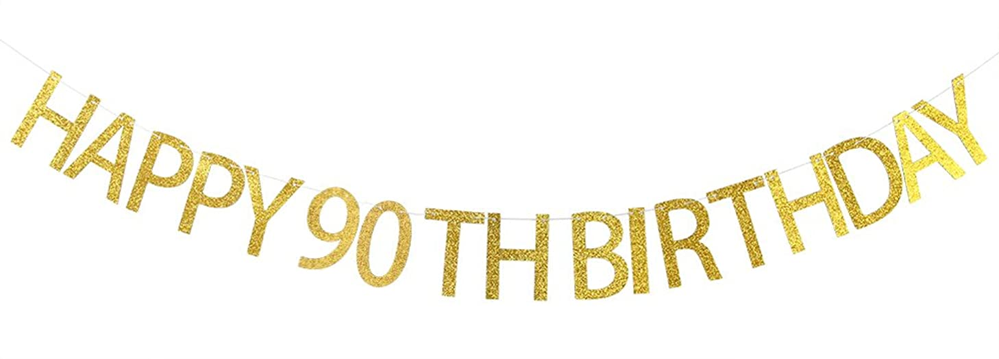 Happy 90th Birthday Banner Gold Glitter Cheers to 90 Years - 90th Birthday Party Decorations Supplies