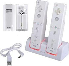 Wii Charging Station for Remote Controller, Dual Charger Dock with 2 Rechargeable Batteries LED Indicator USB Charging Cord -White