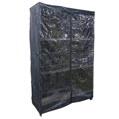 Duraviva Wire Shelf Storage Rack Dust Protective Cover - Privacy and Clear Window Side - Fits Racks Up to 48 x 18 x 72 Inches