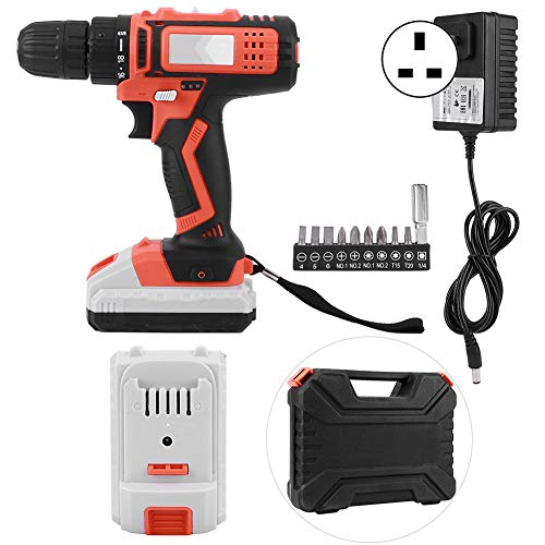 Screwdriver Cordless, Electric Drill Cordless Driver Screwdriver Hand with LED Light 2000mAh Battery 18V Home(UK 230V)