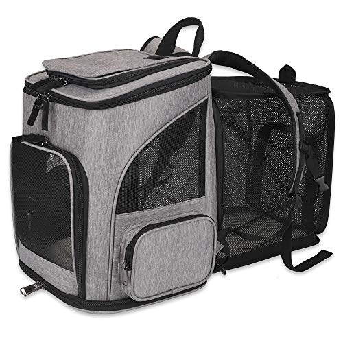 HALOViE Pet Carrier Backpack Expandable for Small Dogs Cats Under 20 LB, Mesh Breathable Foldable Pet Travel Bags