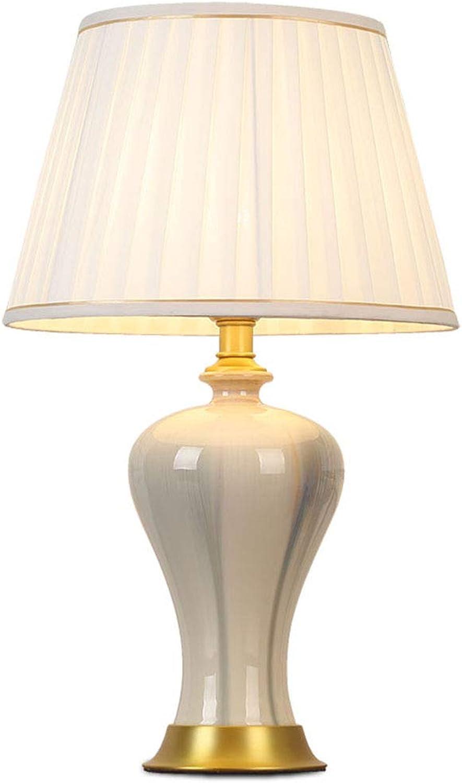 CQL Keramische Tischlampe Einfache Retro-Tischlampe Schlafzimmer Nachttischlampe Plain Vielseitige Dekoration,Pleatedcover B07JK8YKD3     | Mittel Preis
