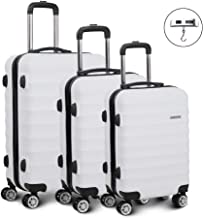 Wanderlite 2 Pieces Luggage Sets Lightweight Suitcases Travel Carry On Bag Hard Case with TSA-lock and Scale-White