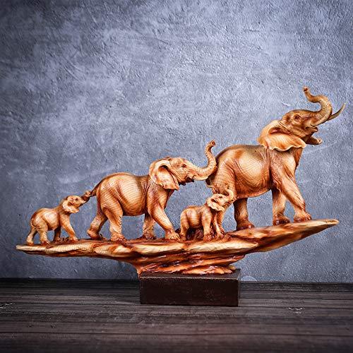 Vinbcorw Elefante - Dorado - Resina | Figura Animal, Escultura, Estatua, Figura Decorativa, artículo Decorativo para la decoración del Escritorio del hogar, Regalo de la Sala de Estar,6