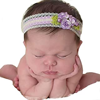 Infant Sun Flowers Stretch Lace with Head-Pearl Headbands Baby Girls Turban Hairband